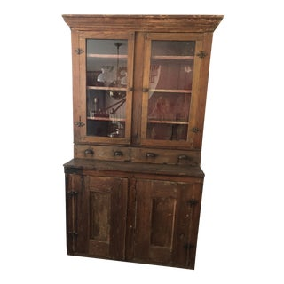 Late 1800s Glass Door American Cabinet For Sale