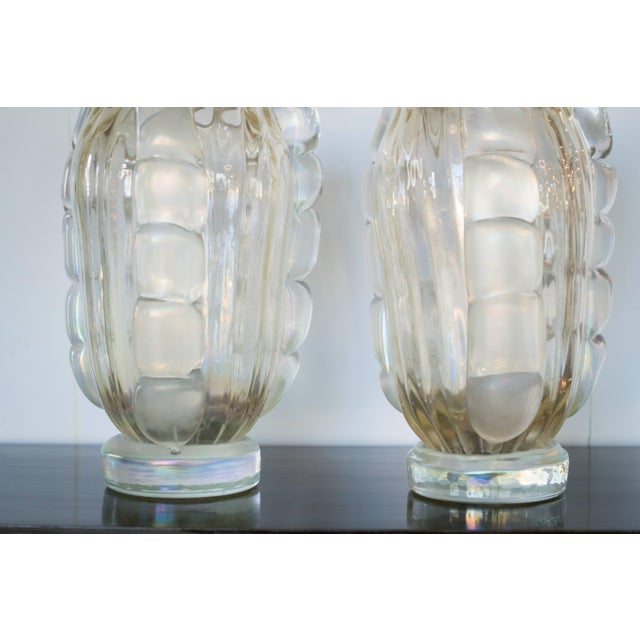 1980s Ribbed Murano Vases by Sergio Costantini, Pair For Sale - Image 5 of 9