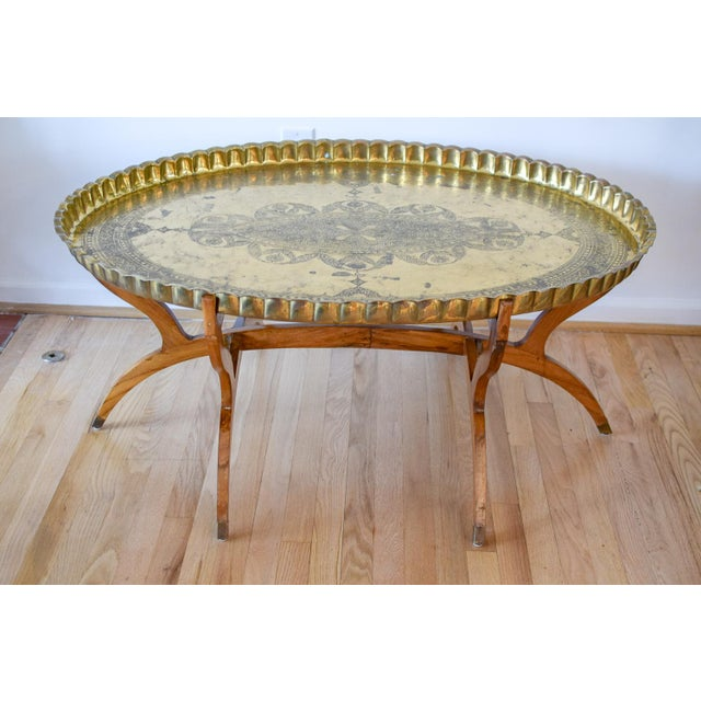 20th Century Moroccan Brass Tray and Teak Spider Leg Table For Sale - Image 13 of 13