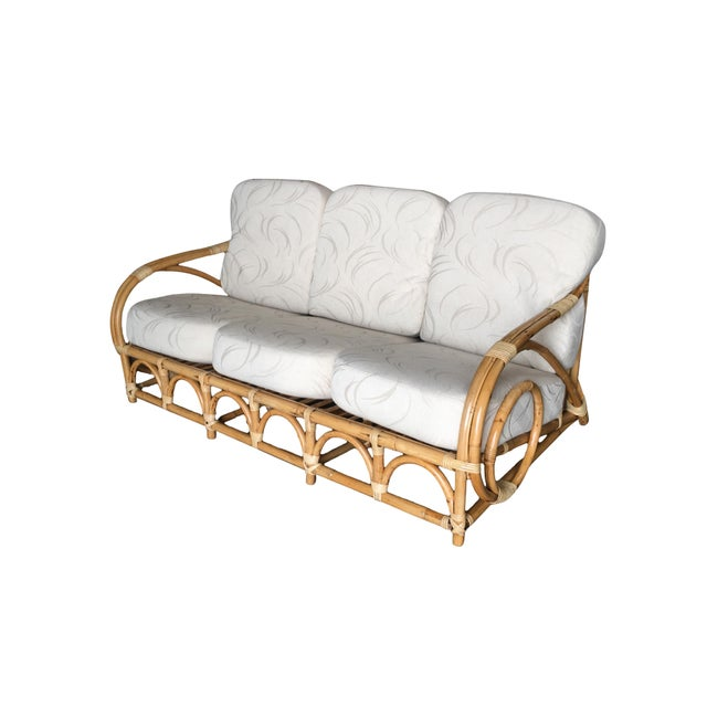 "Restored Two-Strand ""Circles and Speed"" Three Seat Rattan Sofa For Sale - Image 9 of 9"
