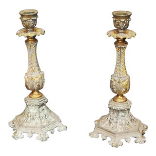 French Antique Neoclassic Candle Holders - a Pair For Sale