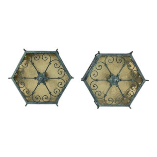 Moroccan Style Cast Iron Flush Mount Light Fixtures - a Pair For Sale