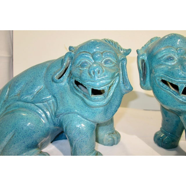 So cute!! They are mythological Buddhist beast for guarding the home. Beautiful Robins Egg Blue glaze done in an unusual...
