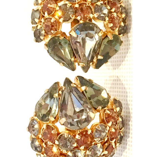 Gold 1950's Vintage Joseph Warner Gold & Swarovski Crystal Necklace and Earrings - Set of 3 For Sale - Image 8 of 12