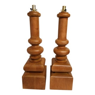 Monumental Size Artisan Wood Turned Lamps - a Pair For Sale