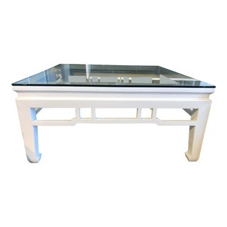 Modern White Lacquer Glass Top Coffee Table For Sale