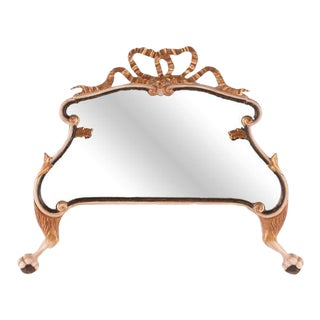 Hand-Carved Ball & Claw Foot Wooden Table Mirror For Sale