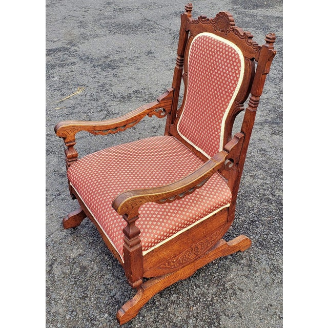 19th C Victorian American Upholstered Carved Oak Rocking Chair For Sale - Image 10 of 10