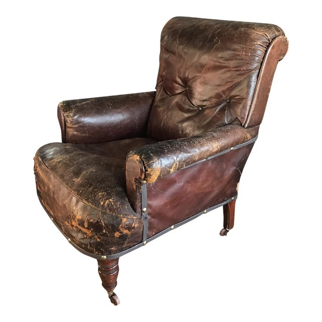 Old, Distressed Leather Club Chair For Sale