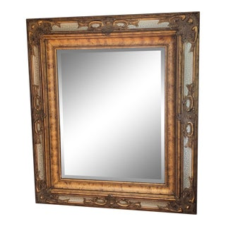 Large Faux Bois Distressed Gilt Framed Beveled Mirror For Sale