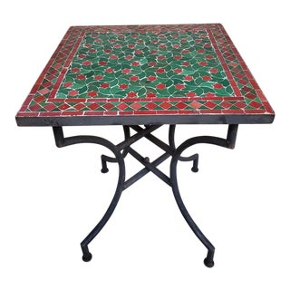 """Moroccan Burgundy and Green Mosaic Table - 24"""" Square For Sale"""