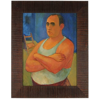 Martin Snipper Modernist Portrait of a Man, Oil on Canvas, 1940s 1940s For Sale