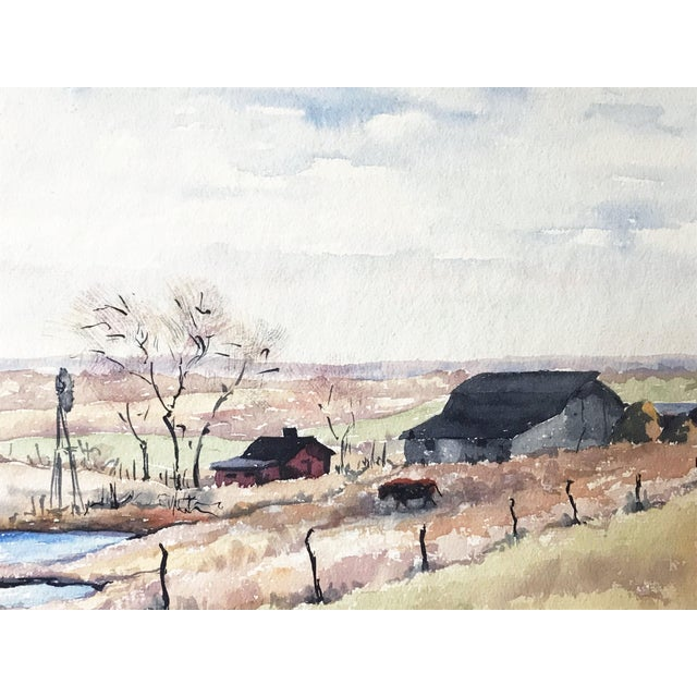 Early 20th Century Vintage Watercolor Landscape W/ Farm For Sale - Image 5 of 6