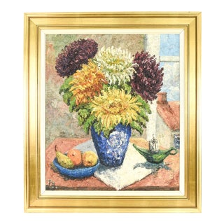 Vintage Danish Mid Century Modern Floral Still Life Oil Painting For Sale