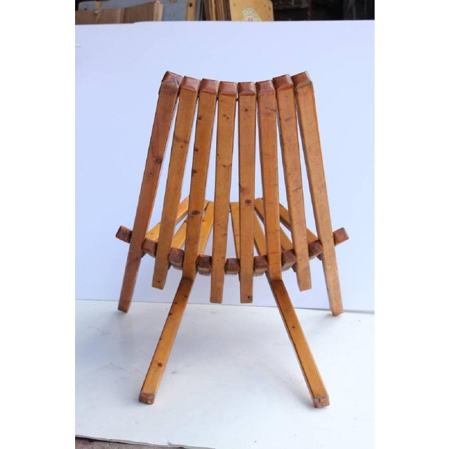 Mid-Century Vintage Wood Folding Lounge Chair For Sale - Image 4 of 4