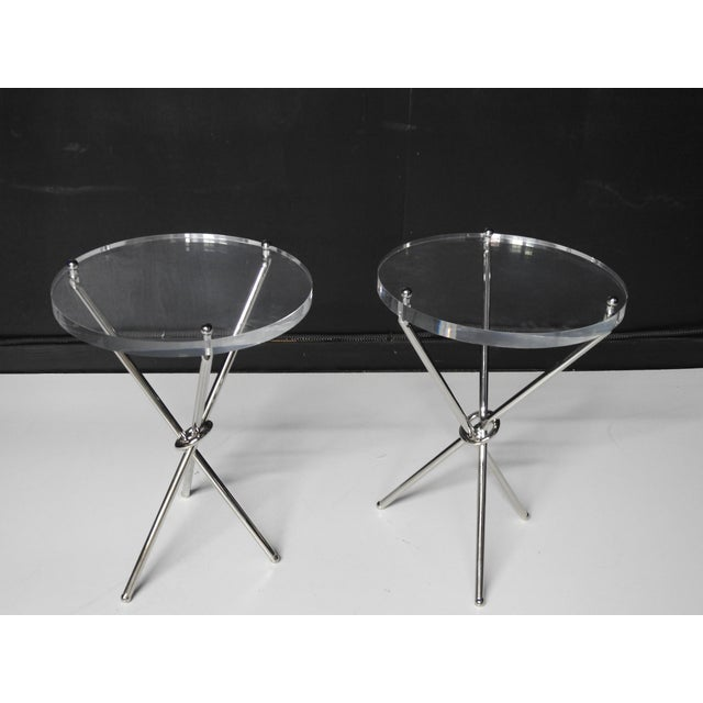 "Pair of Campaign style chrome tables with 1"" Lucite tops."
