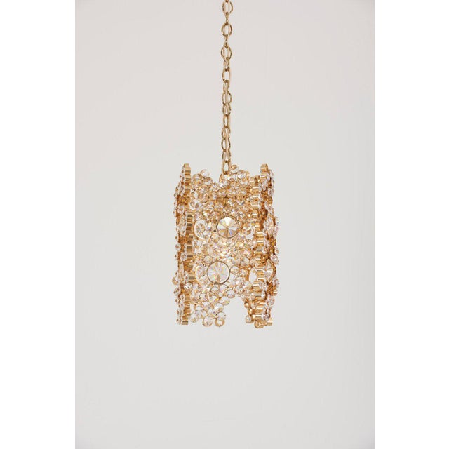1970s One of Three Palwa Gilded Brass and Crystal Glass Encrusted Pendant Lamps For Sale - Image 5 of 11
