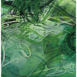 "Dana Oldfather ""Ivied Wall 2"" Abstract Contemporary Green Painting on Paper For Sale"