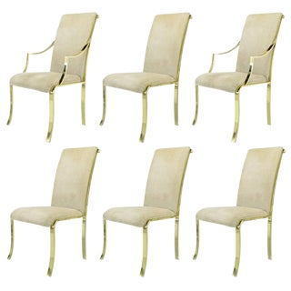 Set of Six Art Deco Revival Brass Dining Chairs by Design Institute of America For Sale