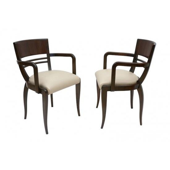 Wood French Rosewood Curved Back Arm Chairs - a Pair For Sale - Image 7 of 7