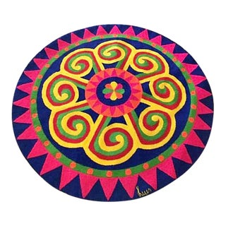 Luis Montiel Mid Century Handmade Op Art Tapestry Rug For Sale