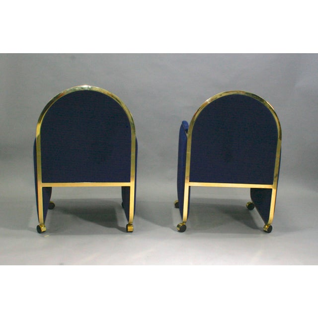 DIA - Design Institute America Pair Design Institute of America Brass and Blue Velvet Club Chairs For Sale - Image 4 of 6