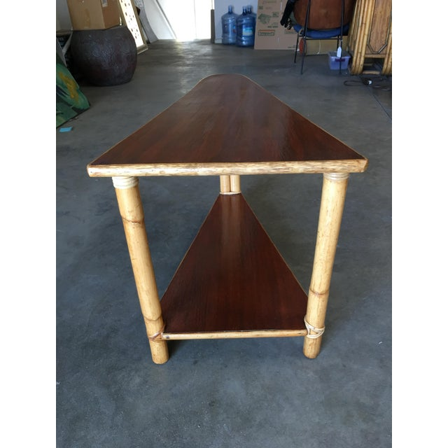 Wicker Restored Two-Strand Rattan Wedge Drinks Table With Two-Tier Mahogany Tops For Sale - Image 7 of 8