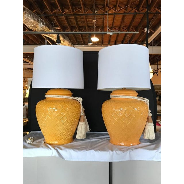 Yellow Glazed Ceramic Jardinière Lidded Vase Lamps - A Pair For Sale - Image 4 of 9