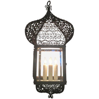 19th Century French Moroccan Iron Lantern For Sale