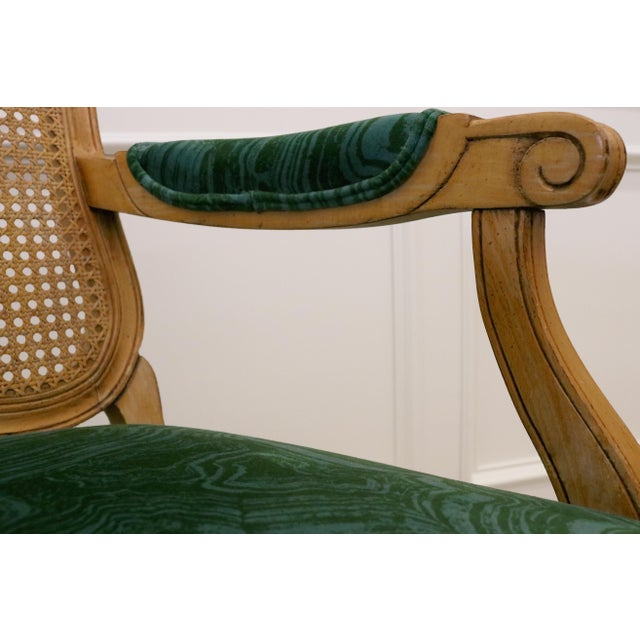 Malachite Velvet Century Brand Caned French Chairs - a Pair For Sale - Image 9 of 11