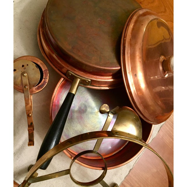 Mid-Century Modern Vintage Tagus Portugal Copper 5 Piece Chafing Set For Sale - Image 3 of 11