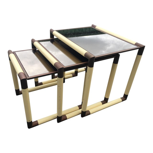 1950s Mid-Century Modern Geometric Cube Form Nesting Tables - Set of 3 For Sale