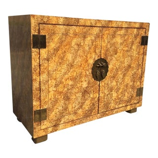 Faux Tortoise Shell Finish Cabinet by Henredon For Sale