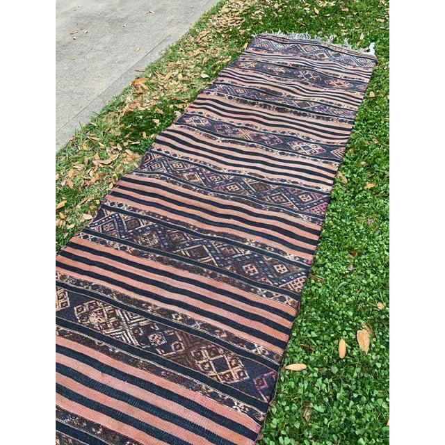 Boho Chic Antique Nomadic Embroidered Cecim Kilim Runner Rug For Sale - Image 3 of 8