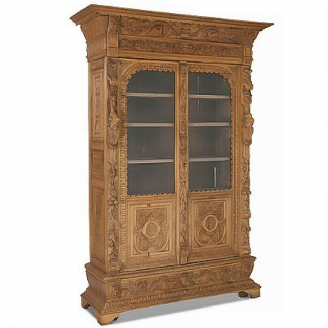 Late 19th Century 19th Century Antique Carved Renaissance Oak China Cabinet For Sale - Image 5 of 5
