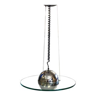 1960s Mid-Century Modern Glass & Chrome Light With Coil Wire For Sale