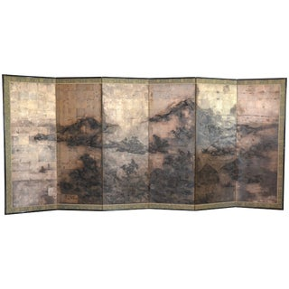 Antique Japanese Six-Panel Screen, 19th Century For Sale
