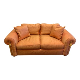 1950s Upholstered Coral Loveseat For Sale