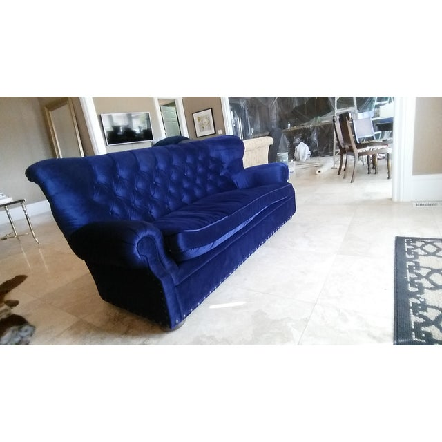 Restoration Hardware Churchill Blue Velvet Sofa - Image 4 of 6