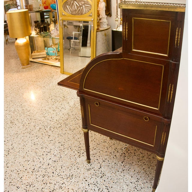 Mid 20th Century French Directiore Style Mahogany Roll Top Desk For Sale - Image 5 of 13