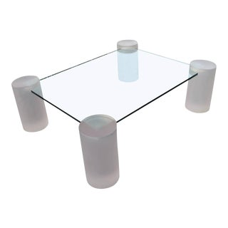 Pink Frosted Lucite Column Architectural Glass Coffee Cocktail Table For Sale