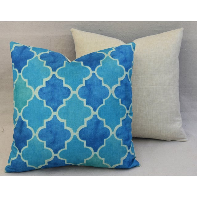 BoHo Chic Moroccan Tiles Linen Feather/Down Pillows - Pair - Image 11 of 11