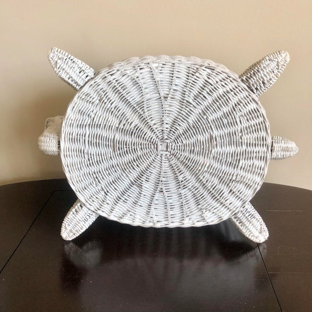 Wicker Vintage White Wicker Turtle Basket For Sale - Image 7 of 8
