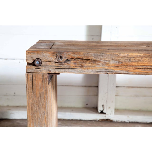 """2010s Reclaimed Wood Parsons Dining Entry Bed Bench Coffee Table 70"""" For Sale - Image 5 of 11"""