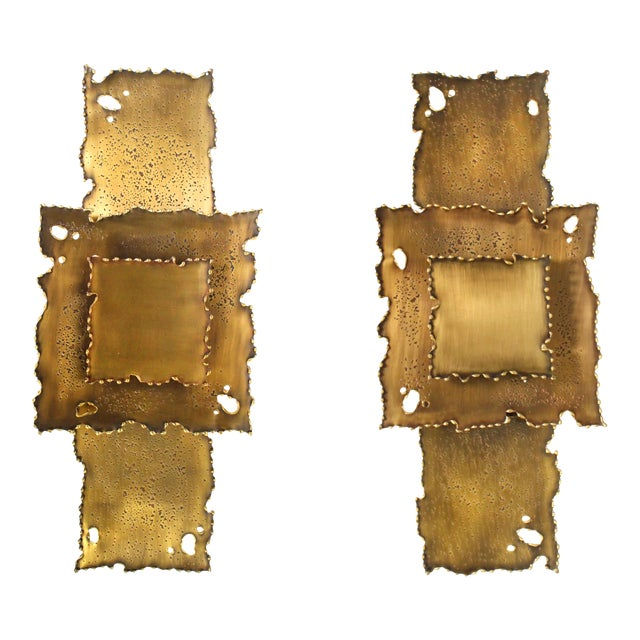 Brass Brutalist Torch Cut Sconces - a Pair For Sale
