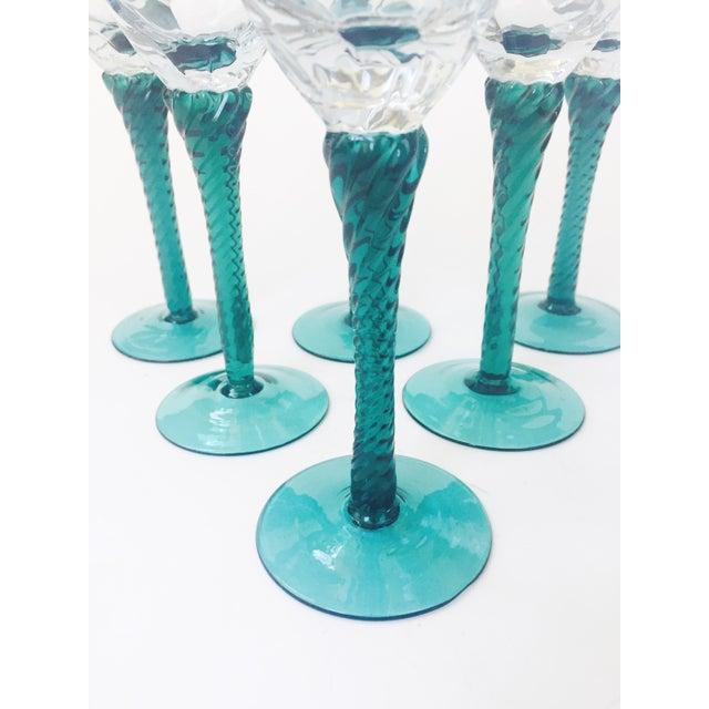 Vintage Green Stemmed Champagne Glasses - Set of 6 For Sale - Image 5 of 5