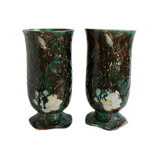 Antique Holdcroft Majolica Vases - a Pair For Sale