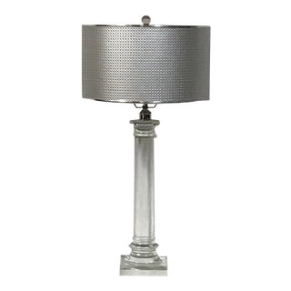 "Modern Solid Crystal Clear ""Greek"" Architecture Styled Column Table Lamp For Sale"