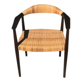 Noir Beale Teak and Rattan Dining Chairs For Sale