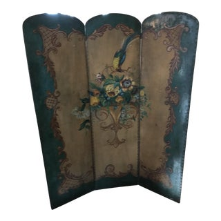 Victorian Hand Painted Bird Flower Folding Screen For Sale